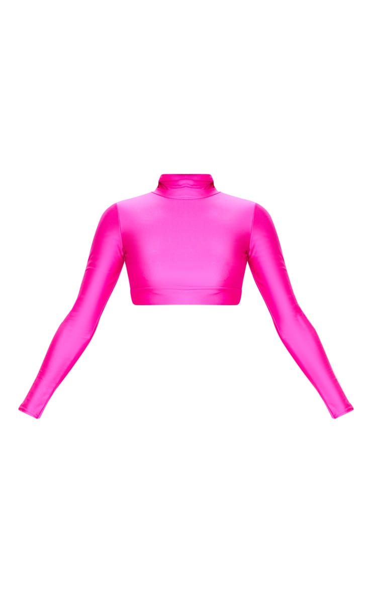 Hot Pink Disco High Neck Long Sleeve Crop Top 6