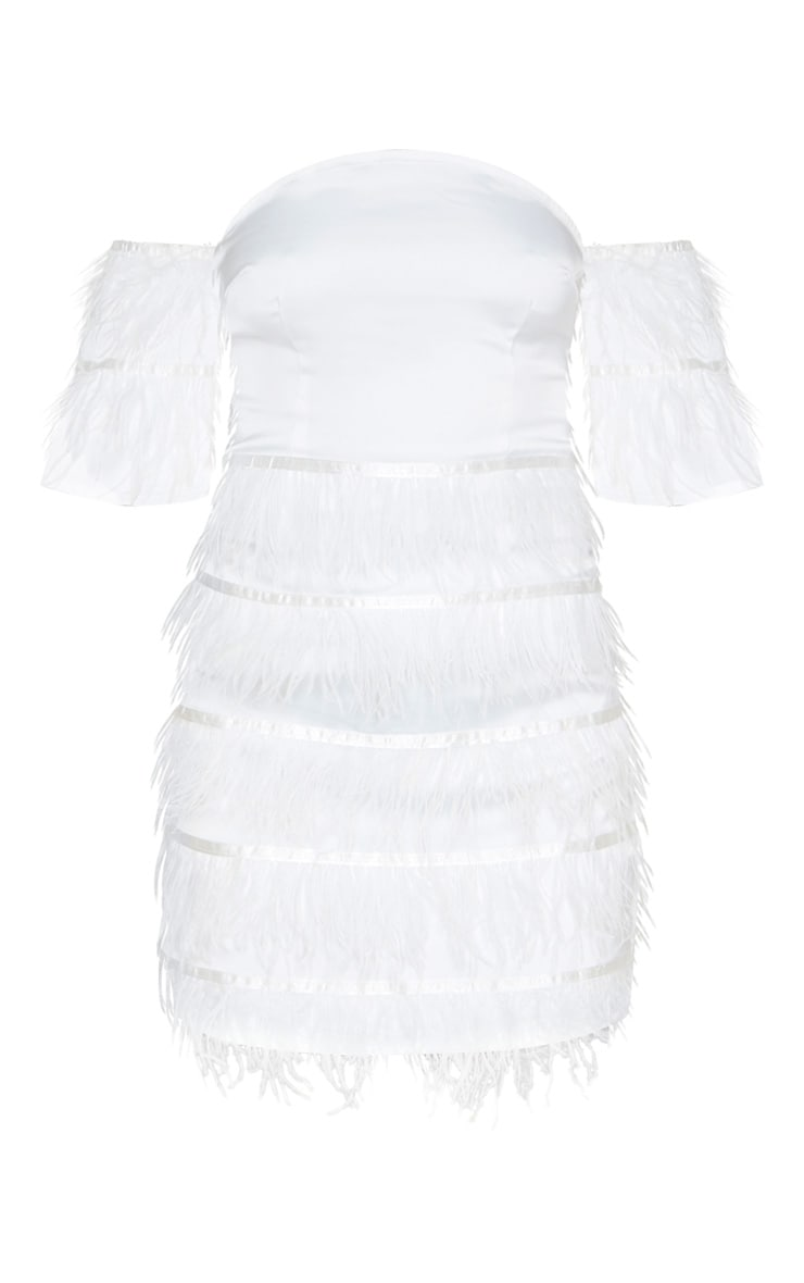 White Satin Feather Tiered Bodycon Dress 3