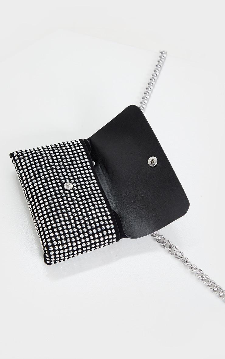 Black Diamante Envelope Belt Bag 4