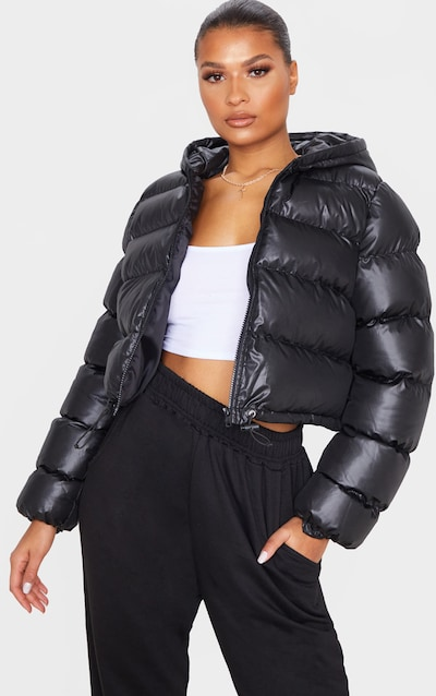 Black Crop Toggle Detail Puffer