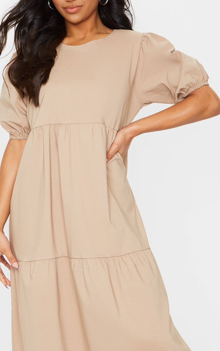 Camel Puff Sleeve Tiered Midi Smock Dress 4