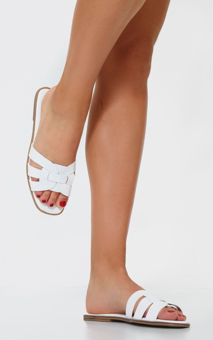 White Cross Over Strap Mule Flat Sandals 2