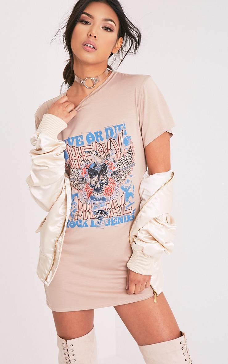 Petite Live Or Die Skull Nude T-Shirt Dress 1