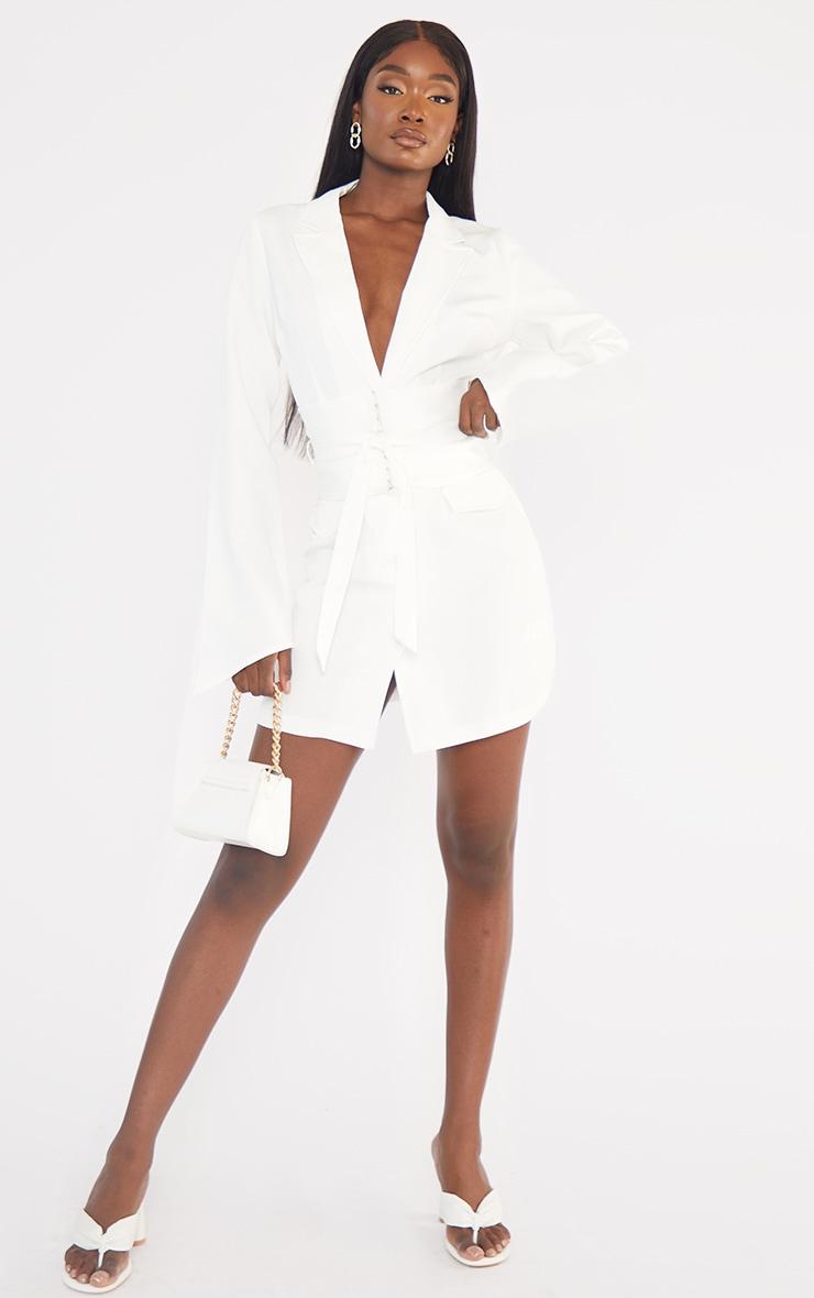 Tall  White Long Sleeve Corset Belted Blazer Dress 3
