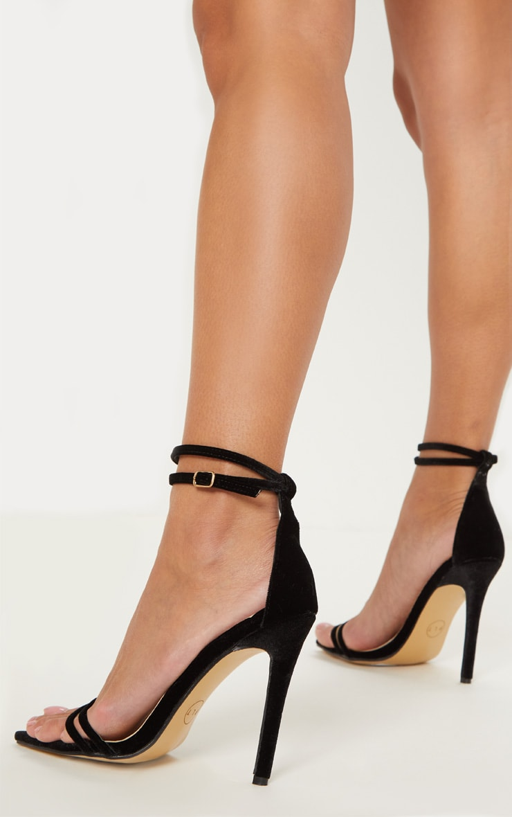 Black Velvet Point Toe Strappy Sandal 2