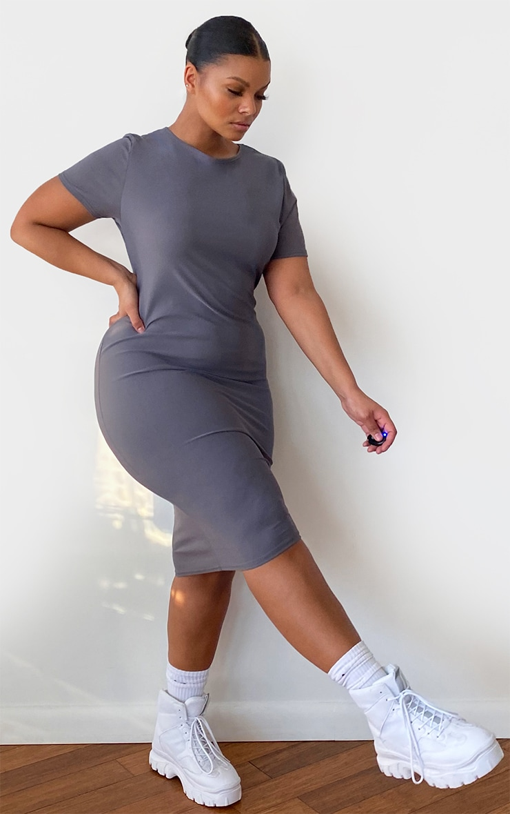 Plus Charcoal Grey Cap Sleeve Midi Dress 3