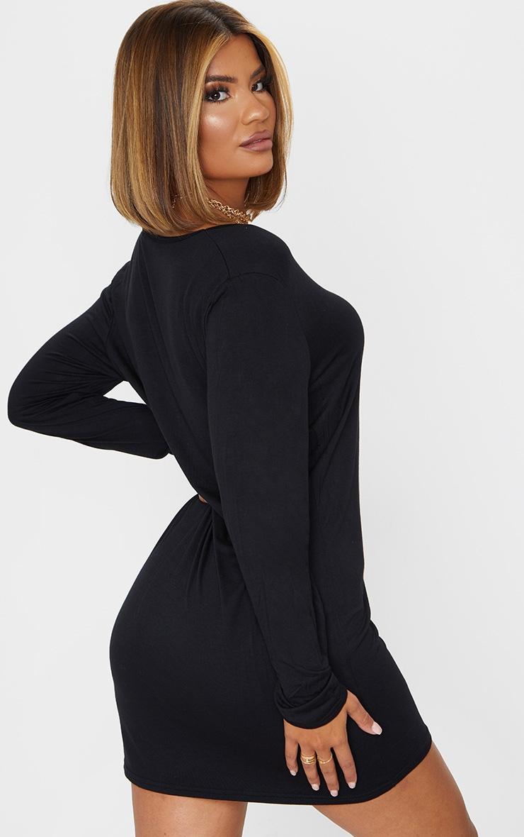 Black Basic Long Sleeve V Neck Plunge T-Shirt Dress 2