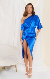 Colbalt Satin One Shoulder Ruched Skirt Midi Dress 3
