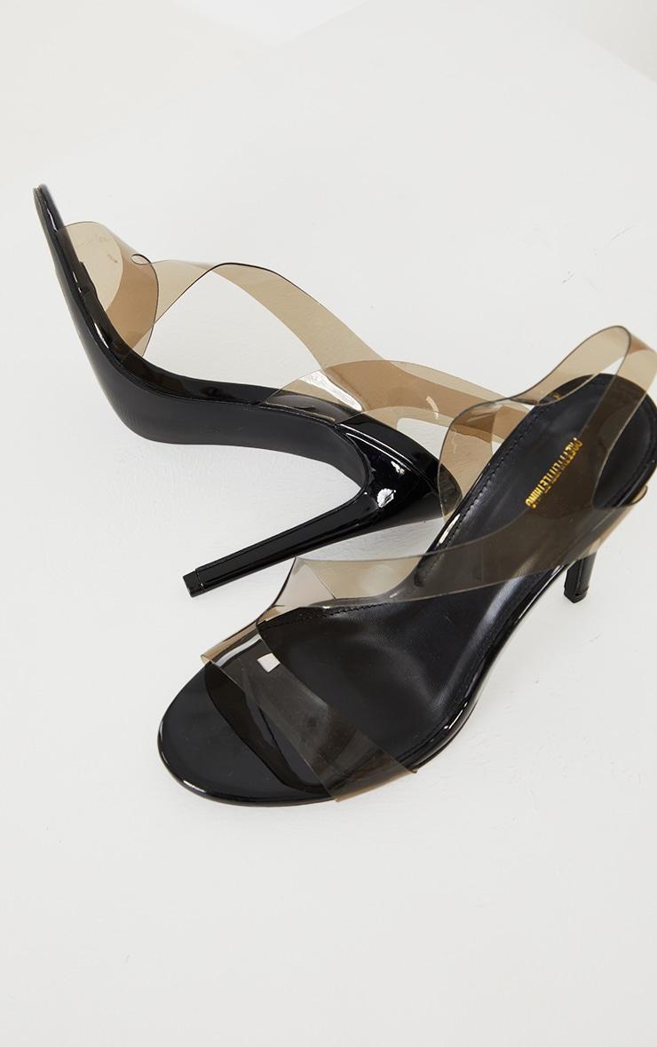Black Clear Asymmetric Strap Heeled Sandals 3