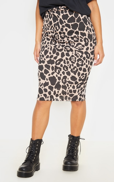 Tan Leopard Print Ribbed Midi Skirt