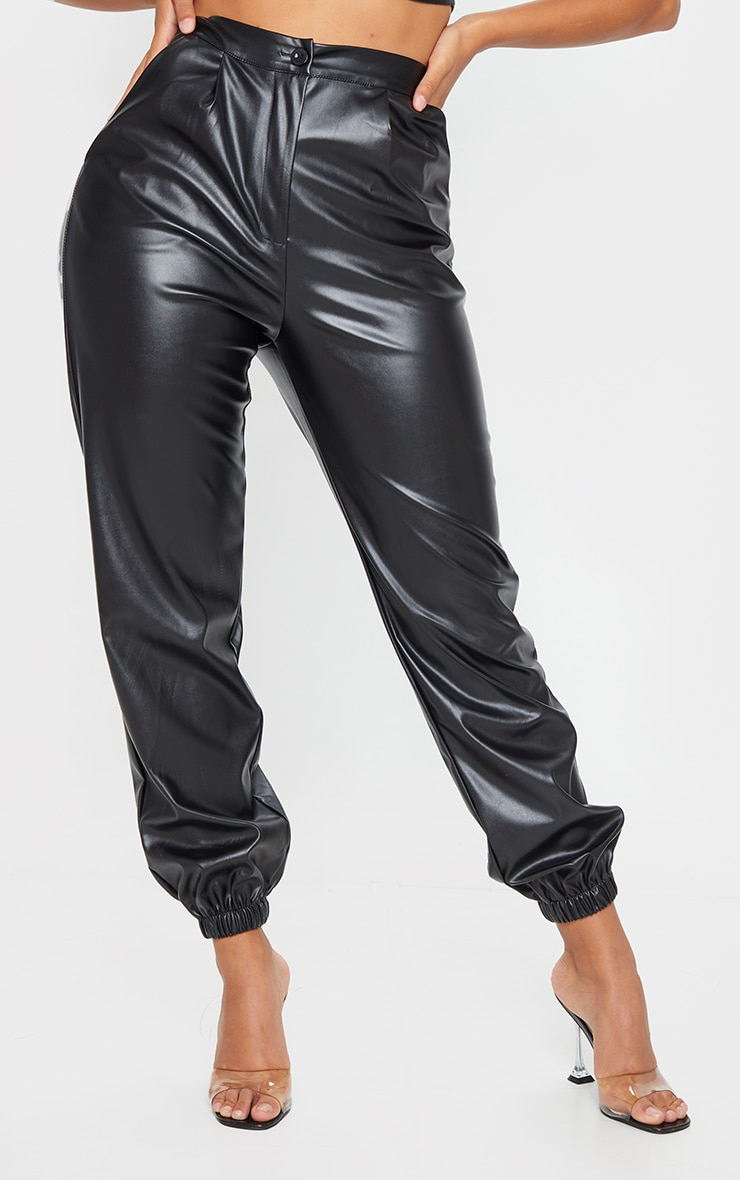 Shape Black Faux Leather Jogger 2