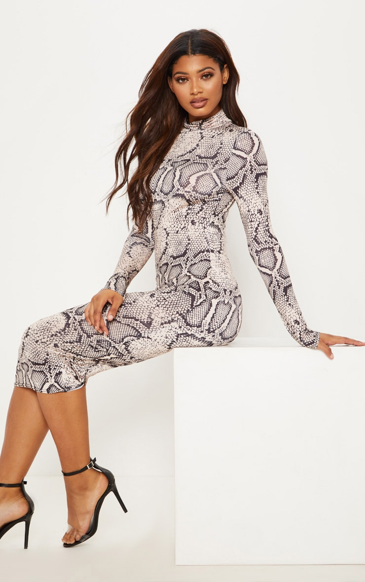 Tall Taupe Snake Print Slinky High Neck Midi Dress 4