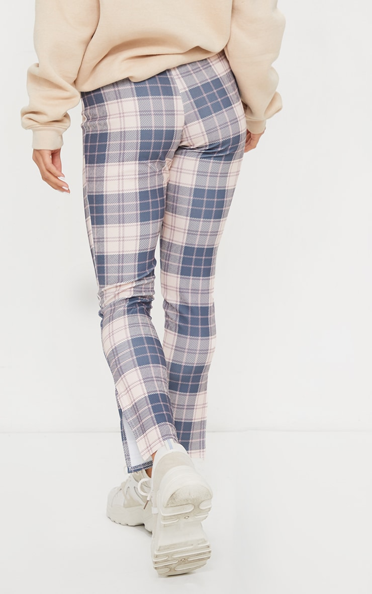 Petite Nude Checked Split Hem Pants 3