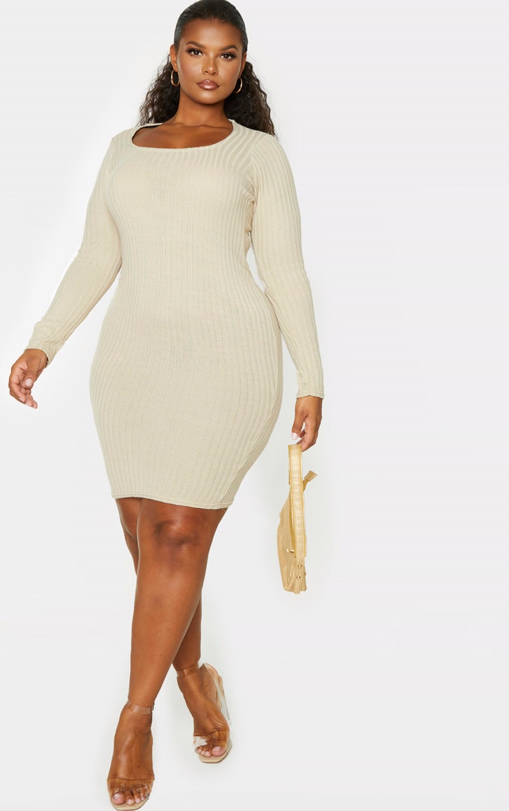 Plus Stone Knit Square Neck Long Sleeve Bodycon Dress 1