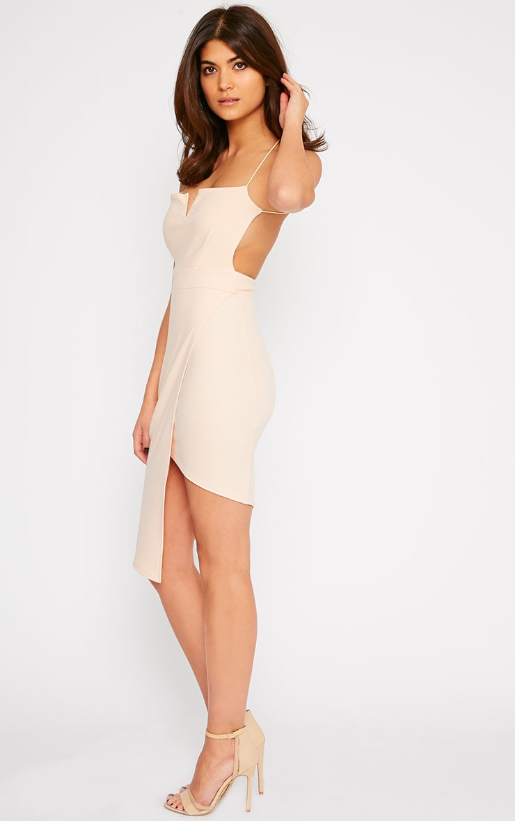 Raye Nude Cross Back Asymmetric Dress 4