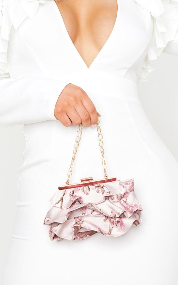 Mini-sac rose à broderies style asiatique  1