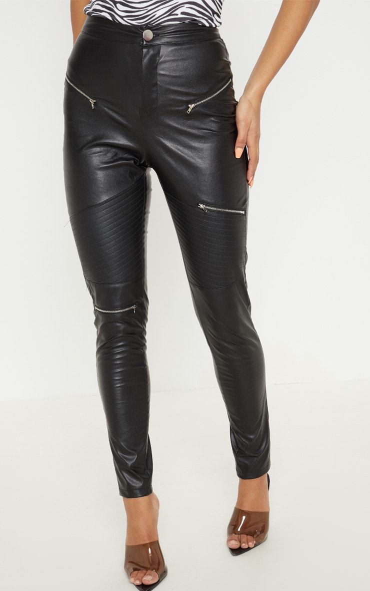 Black Faux Leather Biker Skinny Pants  2