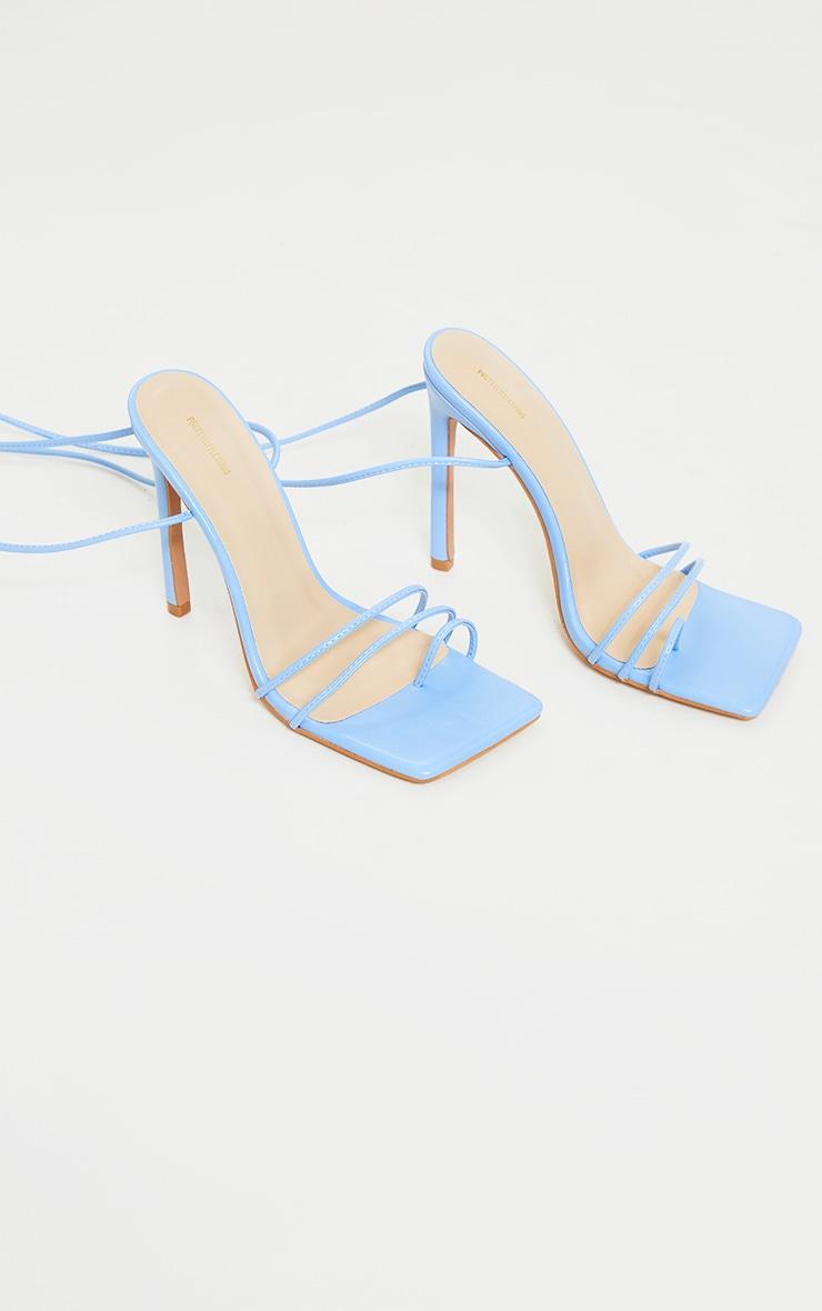 Blue PU Square Toe Lace Up Toe Loop Heels 3