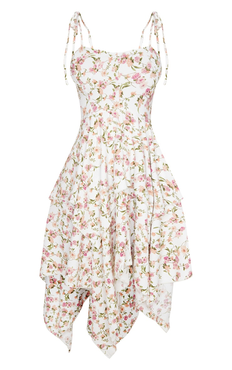 White Floral Print Cup Detail Tiered Midi Dress 5