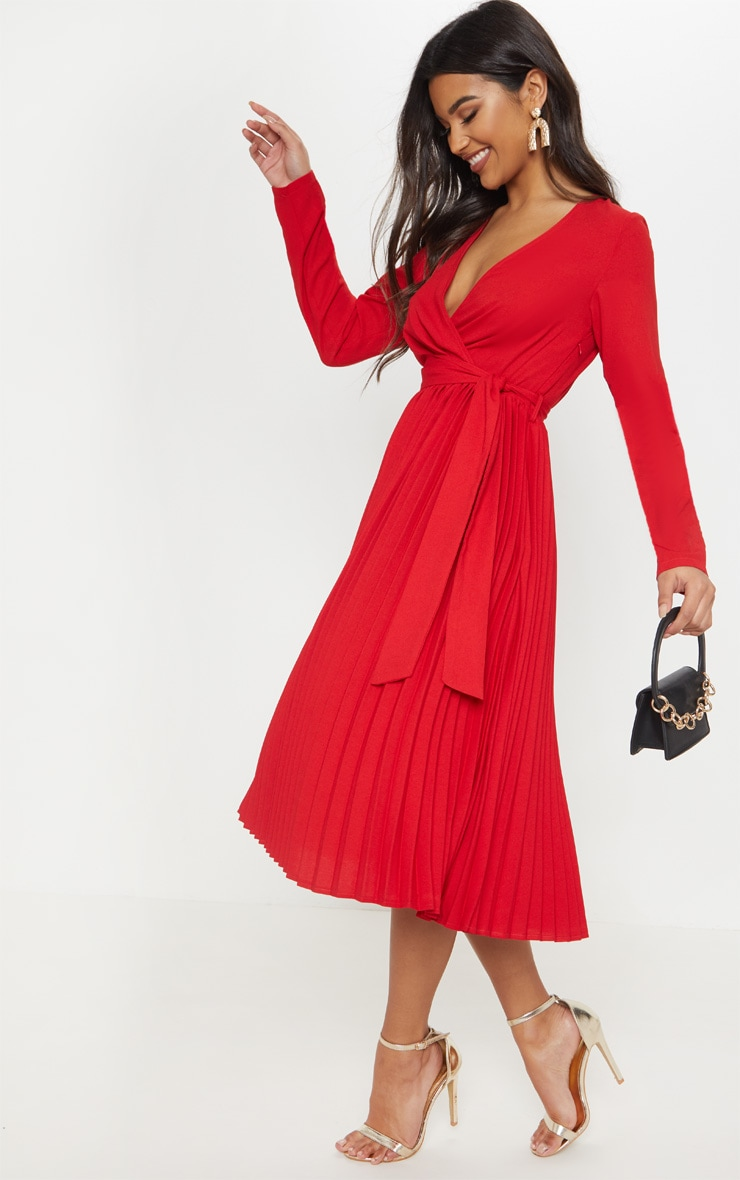 Red Long Sleeve Pleated Midi Dress 3