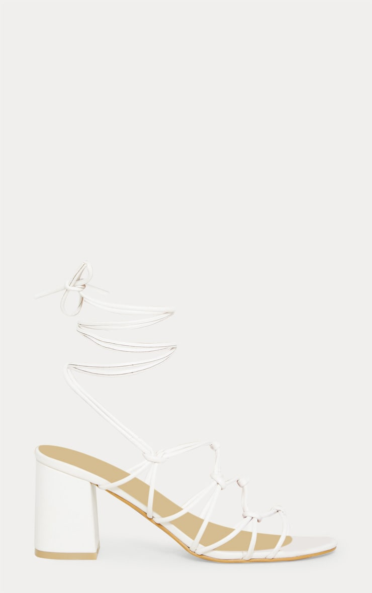 White Block Heel Leg Tie Sandal 3