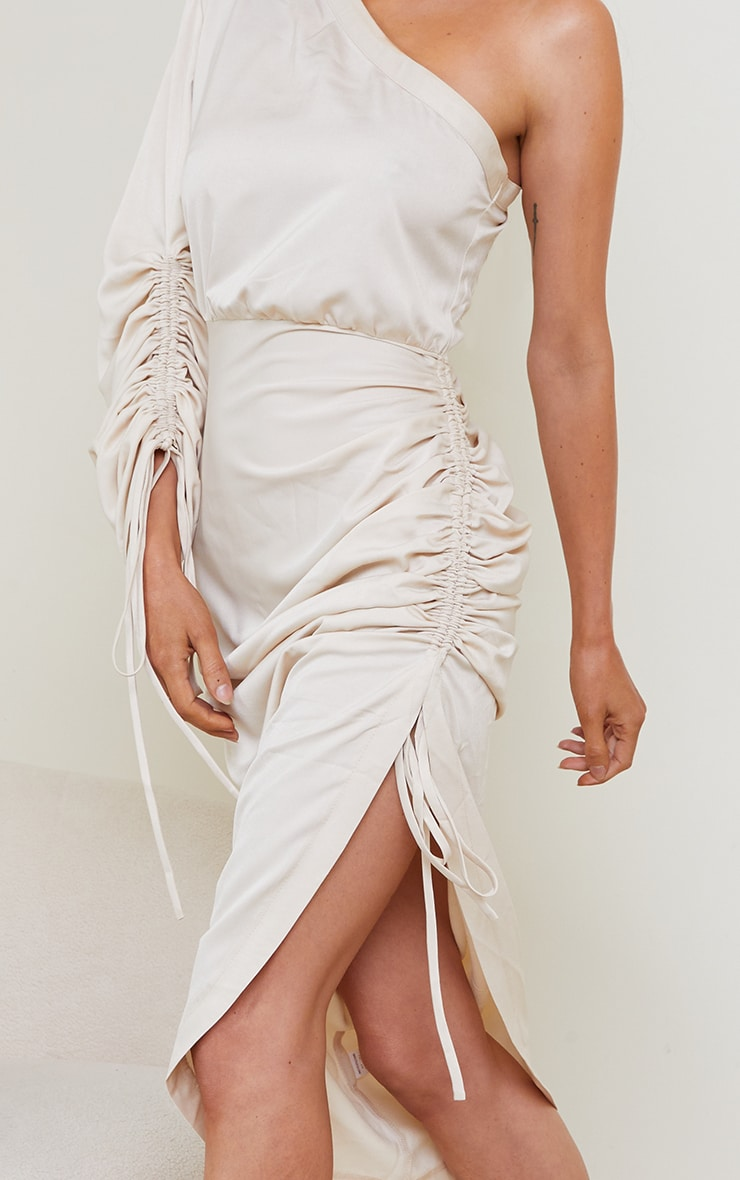 Stone Ruched Sleeve One Shoulder Midi Dress 4