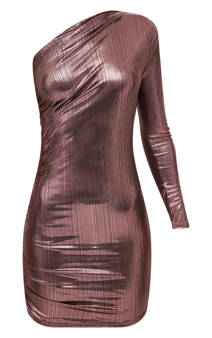 Pink Foil One Shoulder Ruched Bodycon Dress 3