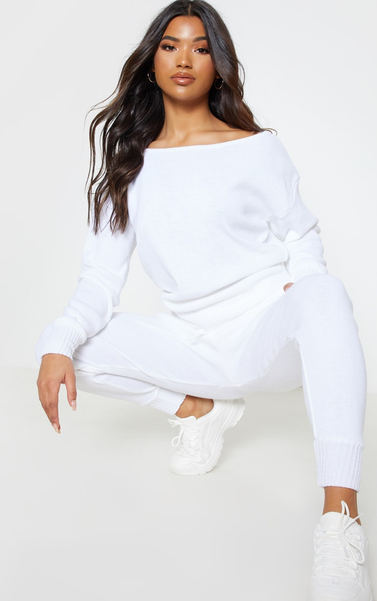 White Jogger Jumper Knitted Lounge Set 5