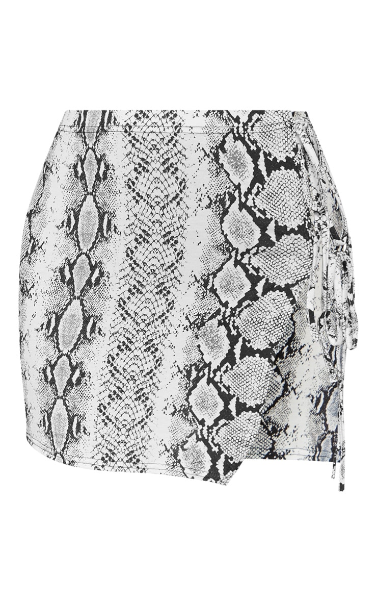 Grey Snake Print Tie Detail Mini Skirt 3