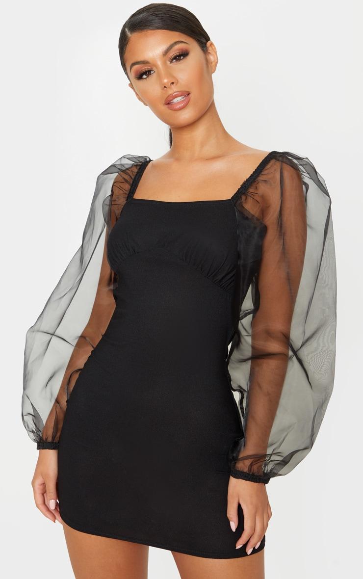Black Organza Sleeve Cup Detail Bodycon Dress 1