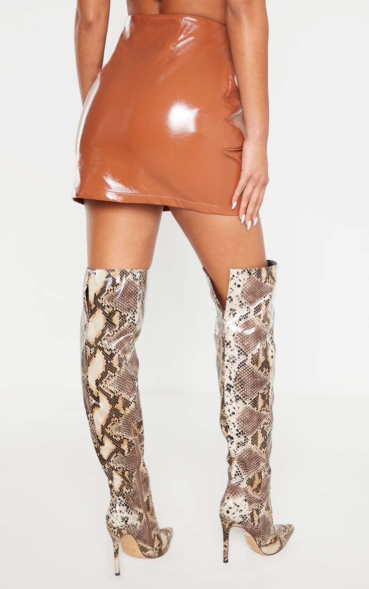 Chestnut Cracked Faux Leather Bow Detail Mini Skirt 4