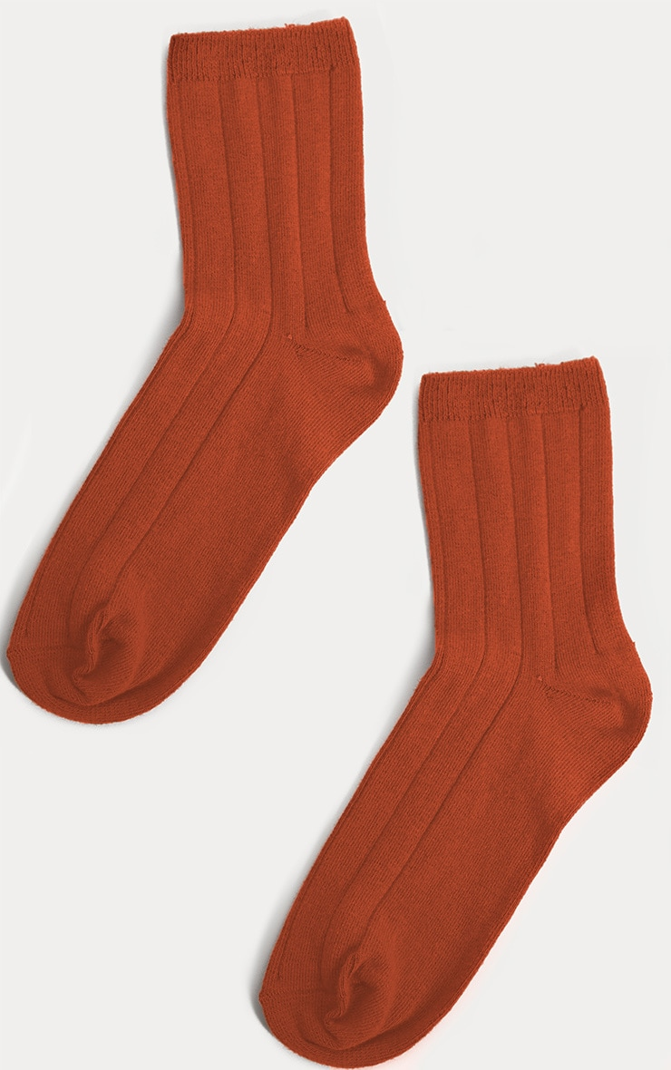 Rust Ribbed Ankle Socks 3