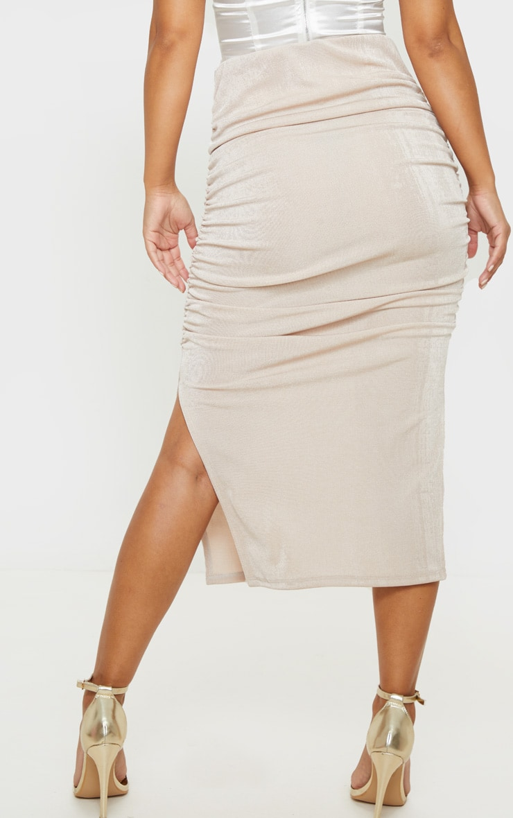 Petite Champagne Ruched Double Split Midi Skirt 4