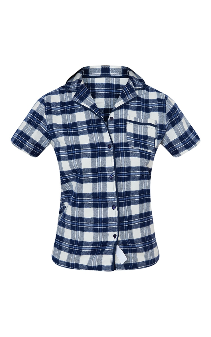 Blue Mix And Match Button Up Short Sleeve Check PJ Shirt 5