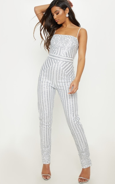 159282ead9a Silver Glitter Striped Strappy Jumpsuit
