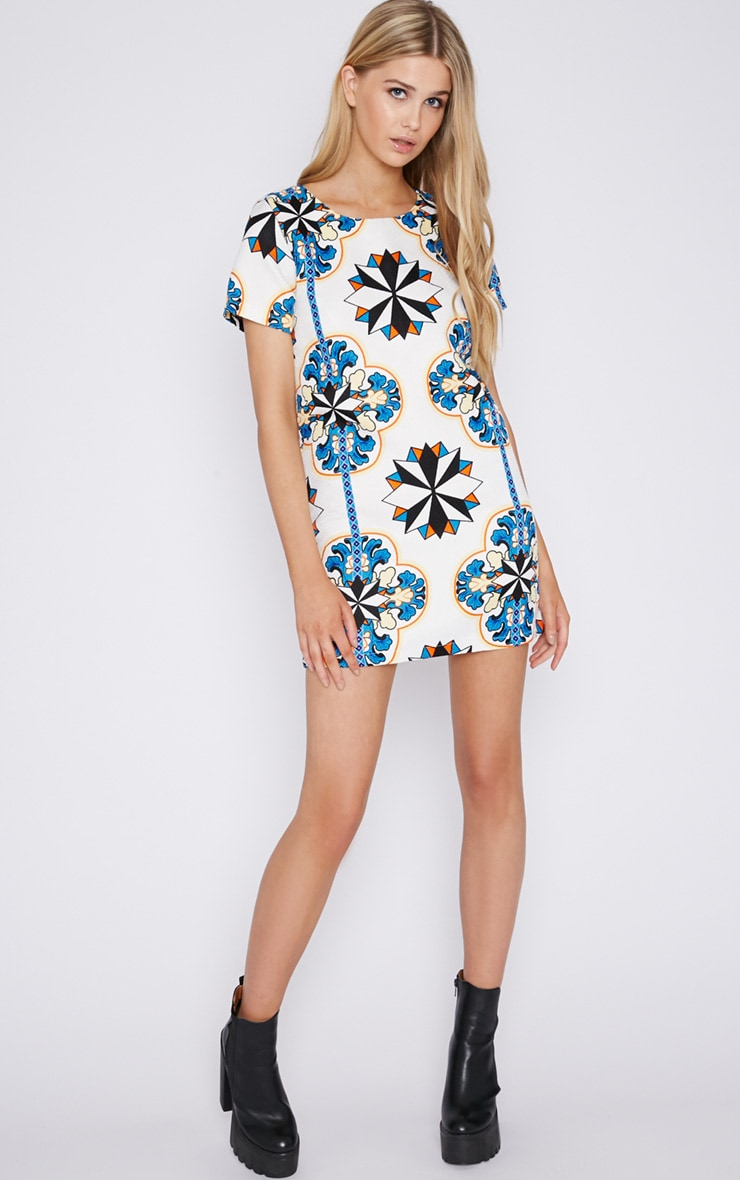 Bailey Abstract Print Quilted Shift Dress 4