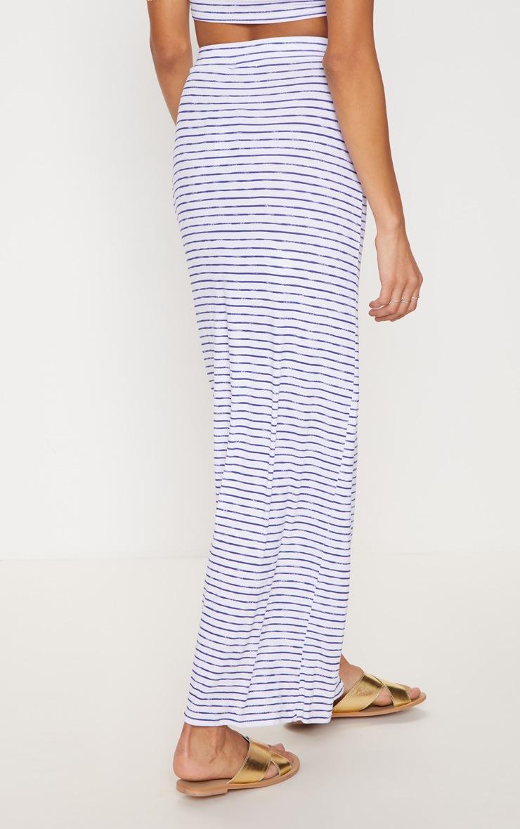 Blue Split Front Stripe Maxi Skirt 4