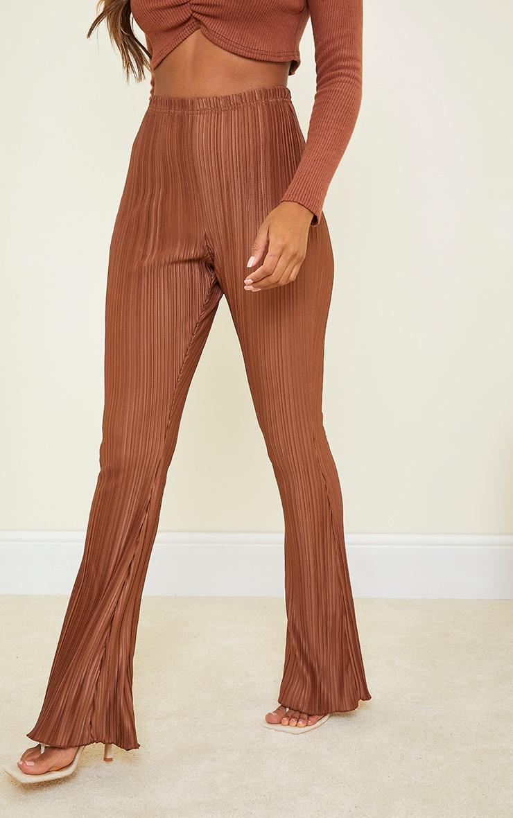 Chocolate Plisse Flared Pants 2