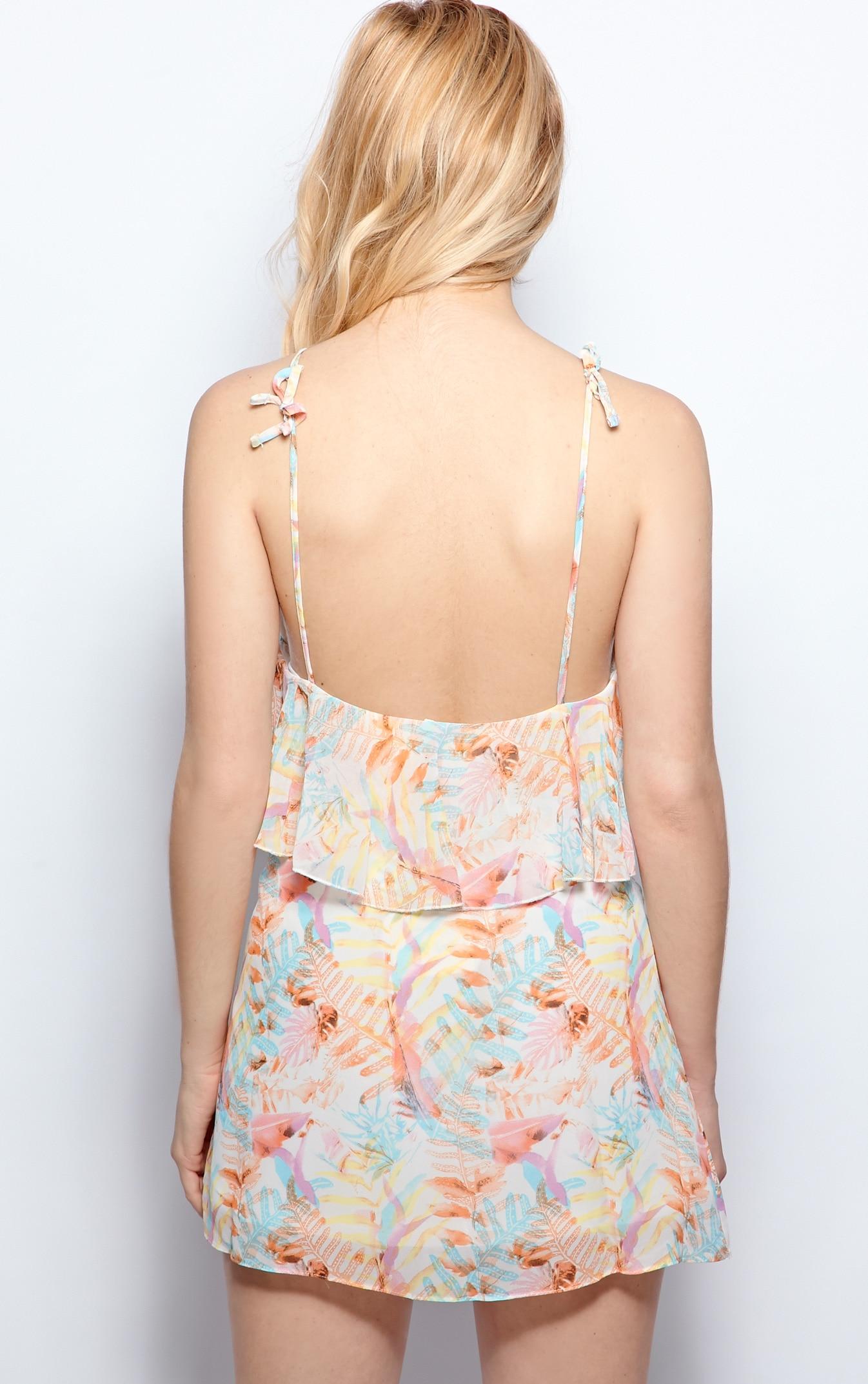Serena Pastel Pink Tropical Print Chiffon Dress 2