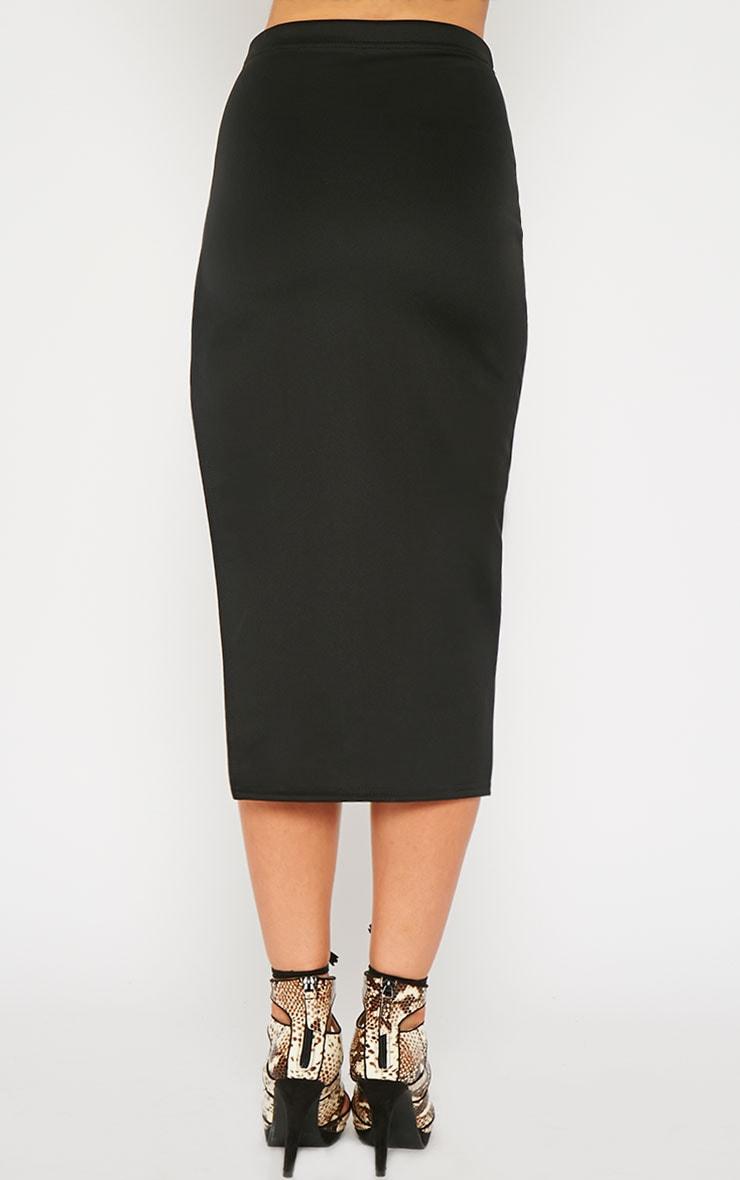 Savina Black Side Split Midi Skirt 4