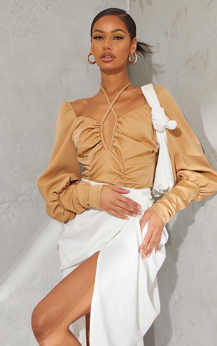 Taupe Woven Halterneck Long Sleeve Bodysuit 1