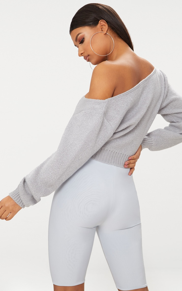 Grey V Neck Off Shoulder Soft Knitted Crop Sweater 2