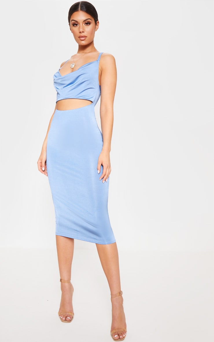 Blue Slinky Cut Out Centre Cowl Neck Bodycon Dress 4