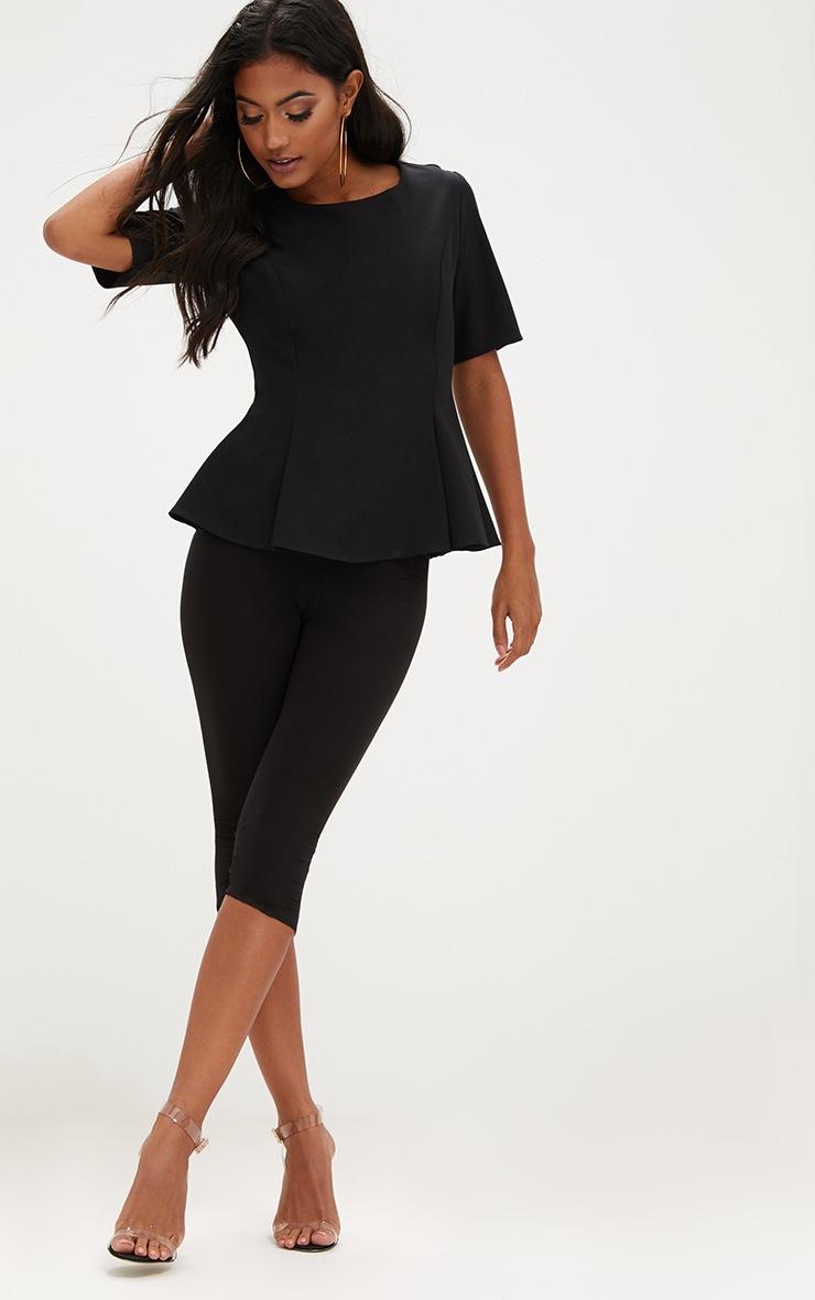 Black Short Sleeve Peplum Hem Woven Top 4