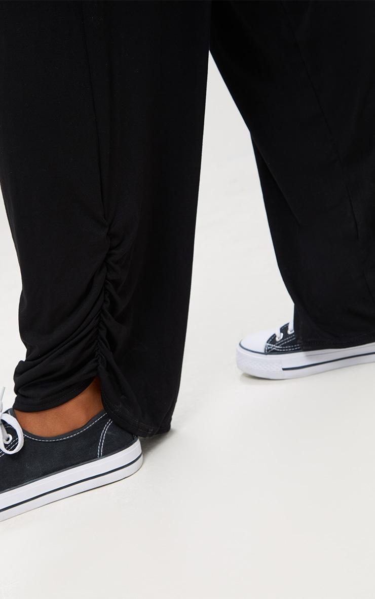 Black Jersey Ruche Hem Wide Leg Joggers 6
