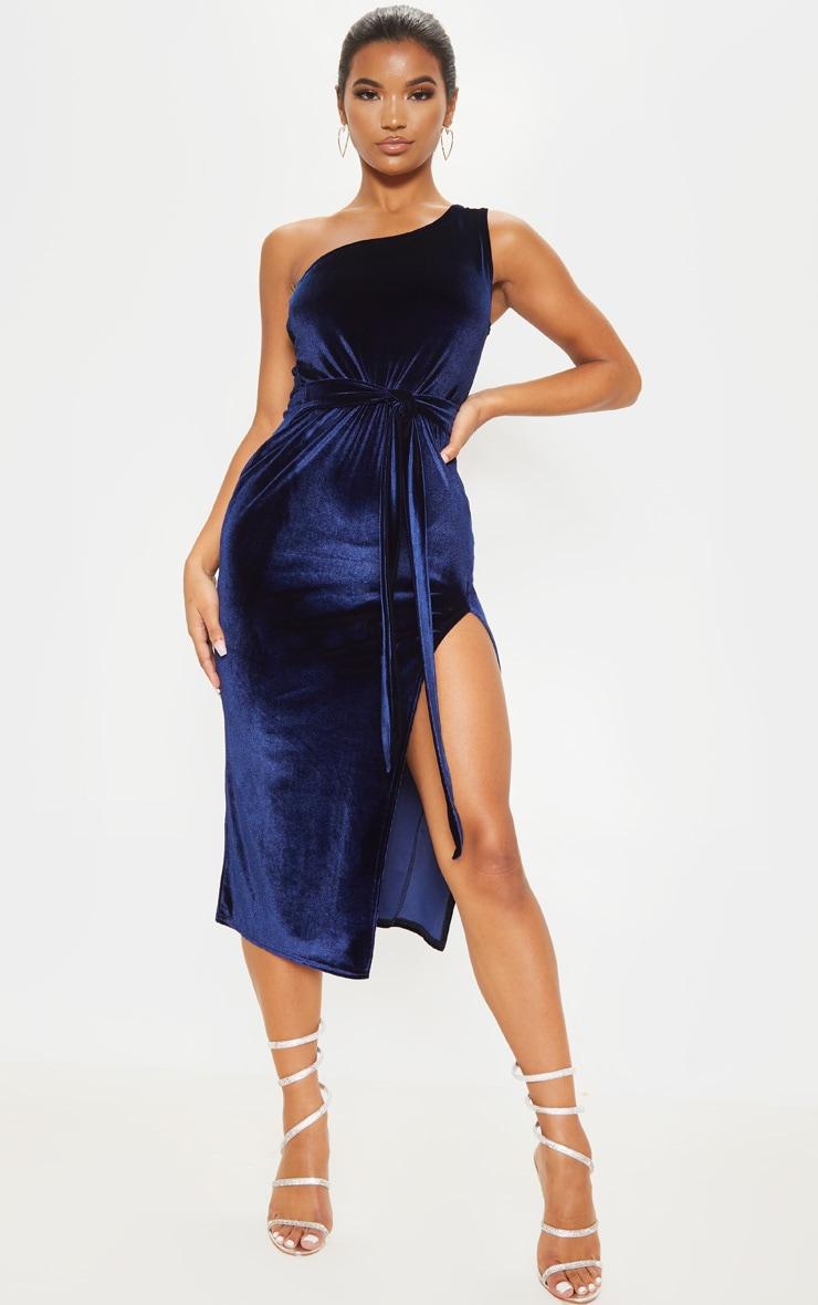 Navy Velvet One Shoulder Tie Waist Midi Dress 1