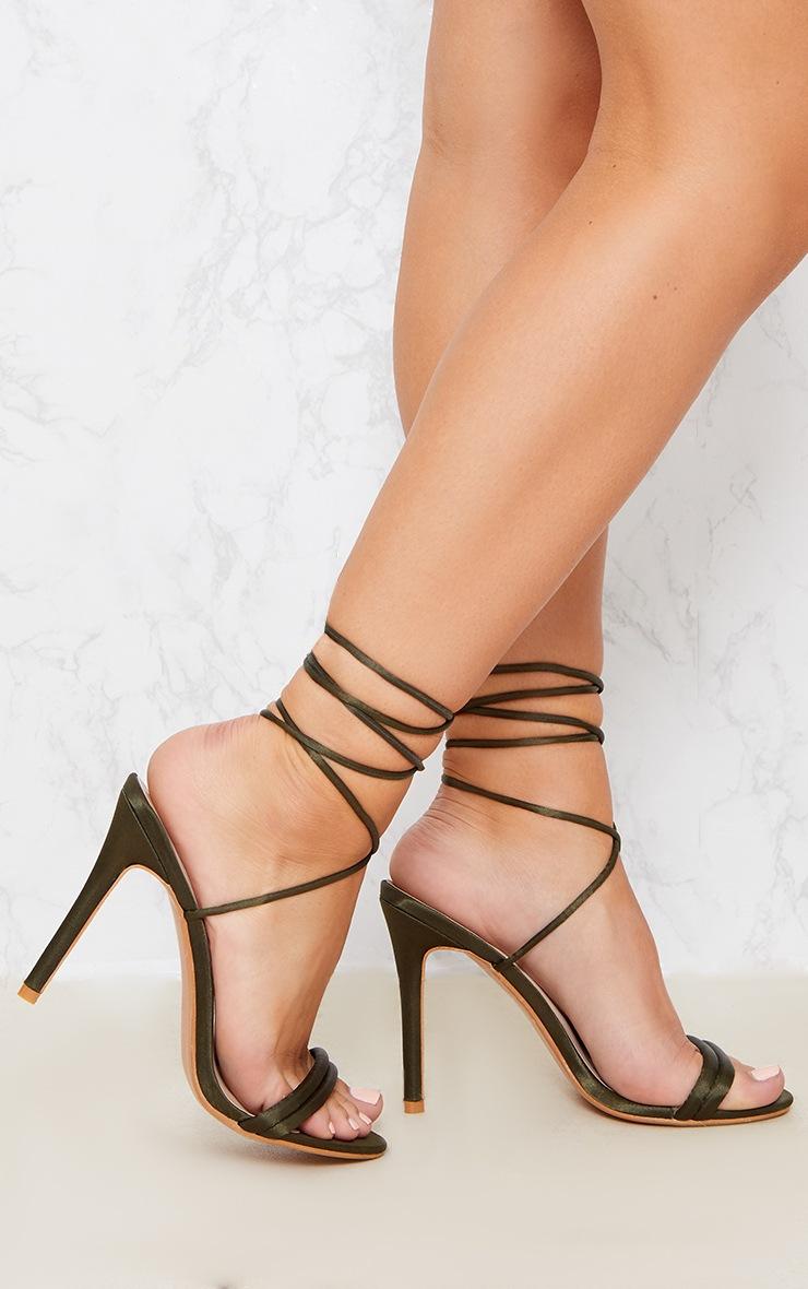 Khaki Strappy Leg Tie Heeled Sandal