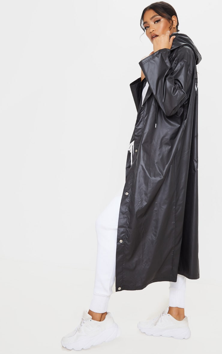 Black Slogan Hooded Windbreaker 5