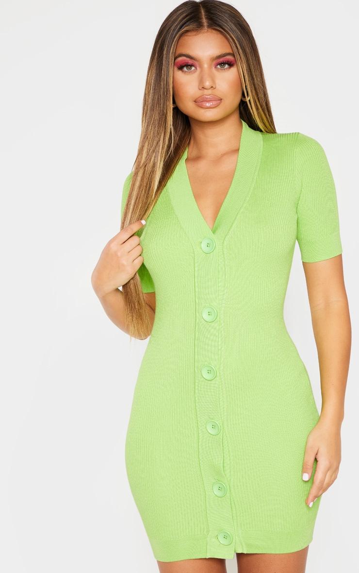 Lime V Neck Knitted Contrast Dress 1