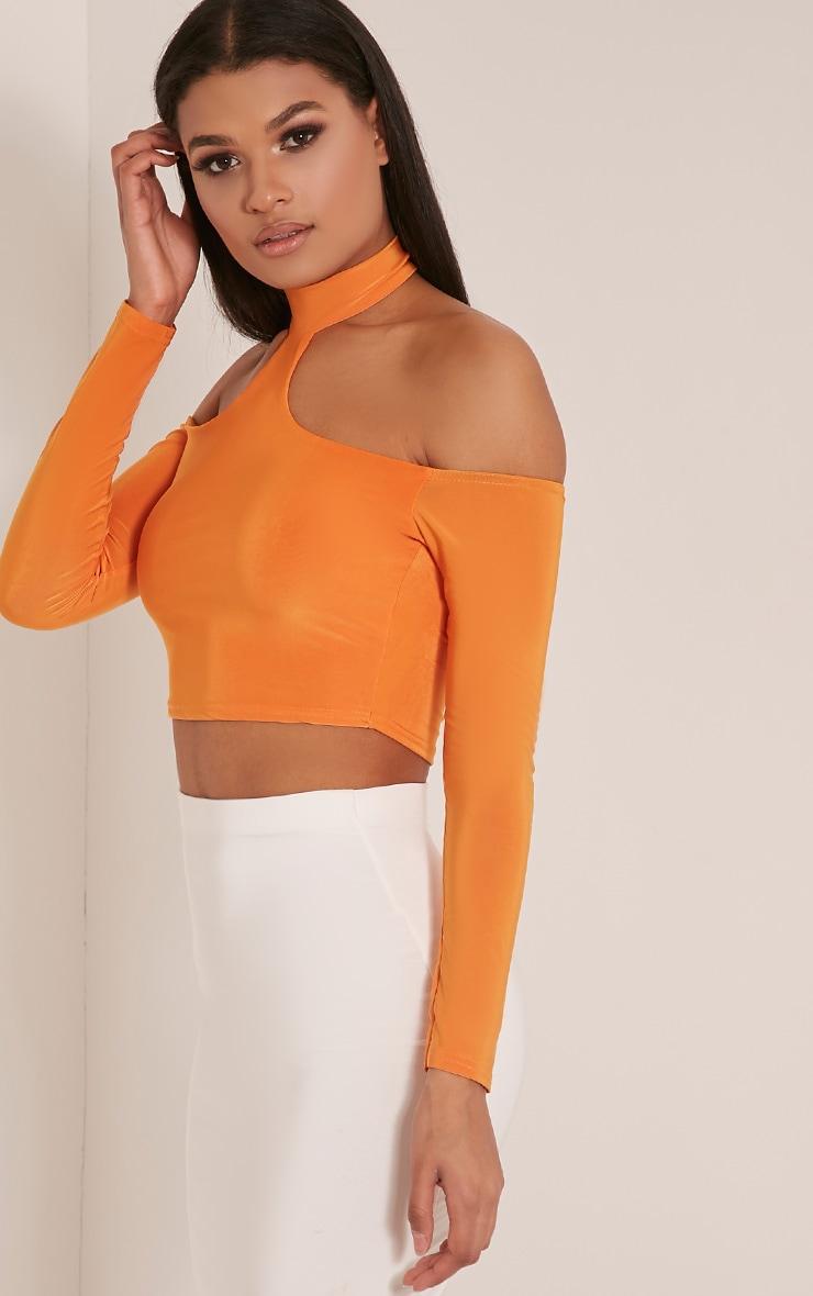 Rosalee Bright Orange Cut Out Shoulder Crop Top 4